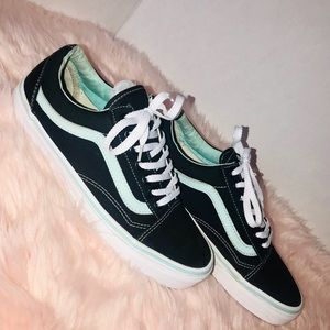 Vans black and mint green old skool sneakers
